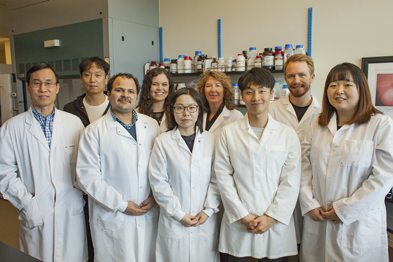 Dr. Seungil Ro, Ph.D., associate professor of physiology and cell biology, and Junghak Kim, managing director of YUYANG, (far left) along with Dr. Ro's lab members (from left to right) Dr. Rajan Singh; Hannah Zogg; Lai Wei; Sandra Poudrier; Byungchang Jin; Brian Jorgensen; and Dr. Se-Eun Ha. Under the direction of Dr. Ro, lab members will be involved in the ongoing research to help identify new drugs for treating gastrointestinal complications in Type 2 diabetics.