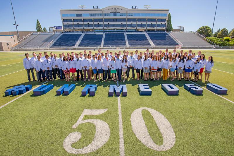 Students on 50 yard line